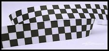 "Black and White Checkers Pattern Grosgrain Ribbon 7/8"" Scrapbooking HairBows"