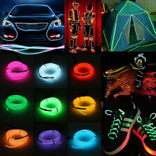Neon LED Light Glow EL Wire String Strip Rope Tube Car Dance Party &Controller
