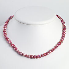 925 Sterling Silver Off-Baroque Pink Freshwater Cultured Pearl Bead Necklace