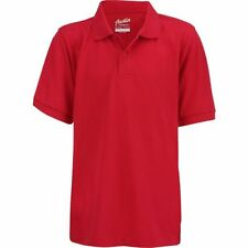 Boys' Uniform Short Sleeve Pique Polo Shirt Austin Trading Yoked Collar Red