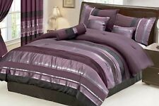 Luxurious 7 pc Eggplant Purple Black Silver Stripe Chenille Comforter Set Sizes