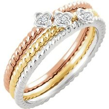 DIAMOND STACKING RINGS Rope Band 14kt White, Rose or Yellow Gold MSRP:$315