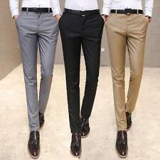 Stylish Mens slim fit long casual dress trousers straight pants Comfy size 28-38