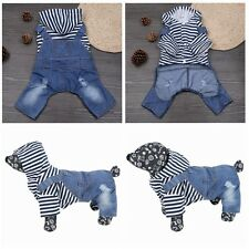 Jeans Pet Dog Puppy Jacket Coat Clothes Jumpsuit Clothes Apparel Hooded XS-XXL