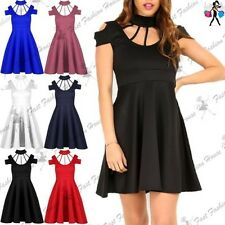 Womens Ladies Choker High Neck Cold Cut Shoulder Flared Swing Cage Skater Dress