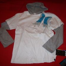 NEW HURLEY long sleeve hoodie shirt boys youth  size Large  L 14 16   gray white
