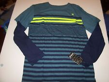 NEW HURLEY long sleeve t shirt  boys youth teal blue stripe Small 7 8 XL 18 20