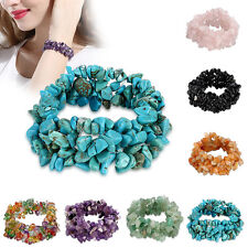 Stretch Chipped Beads Artificial Quartz Crystal Multi-layer Turquoise Bracelet