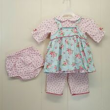 Carters Dress Bloomers Diaper Cover Hat 4 Piece NB 12 Months Blue Pink Floral