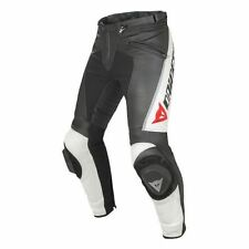 Dainese Delta Pro Black White Leather Motorcycle Pants, NEW!