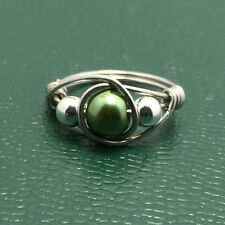 Wire Wrapped Pearl Ring Womens Sterling Silver Jade Green FREE SHIPPING All Size