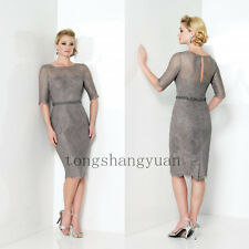 Gray Mother of the Bride Groom Formal Long Evening Prom Women Dresses/Gowns Lace