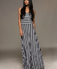 MACBETH COLLECTION Strapless Black White Striped Maxi Dress Sexy Back XS-L $72
