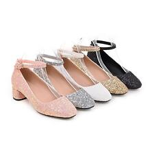 Womens Mary Janes Shoes Synthetic Leather Med Heels Glitter Wedding Pumps Shoes