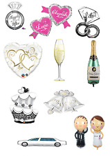 Large Super Shaped Printed Foil Helium WEDDING Balloons Flat Packed