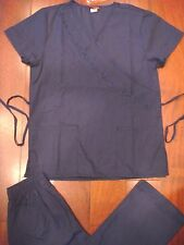 908 New Embroidered Navy Blue Scrub Top & Cargo Pants Uniform Nursing Scrubs Set