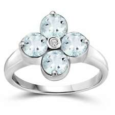 Jewelonfire Sterling Silver Aquamarine Gemstone and Diamond Accent Clover Ring