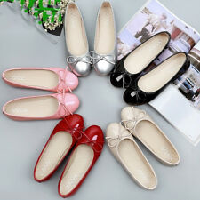 Womens Ballet Flats Patent Leahter Lined Classic Bow Ballerina Slippers Flats