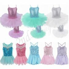 Girls Gymnastics Leotard Ballet Dance Tutu Skirt Dancewear Costume Dress SZ 2-12