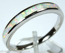 Quality White Fire Opal Inlay Genuine 925 Sterling Silver Band Ring Size 6,7,8,9