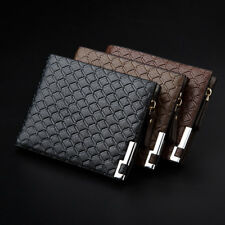Mens Luxury Soft Quality Leather Wallet Credit Card Holder Purse Black with Zip