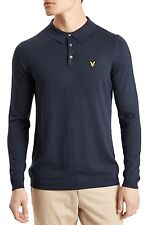 Lyle & Scott Men Casual Long Sleeve Knitted Polo Shirt Smart Wool Blend Top Navy