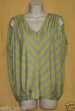 Fenn Wright Manson womens lime green oversize striped keyhole ruched top M $78