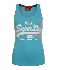 New Womens Superdry Factory Second Vintage Logo R Vest Top Sky Blue Snowy