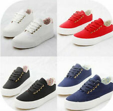 Womens Lady Canvas Strappy Platform Leisure Creepers Sneakers College Shoes Chic