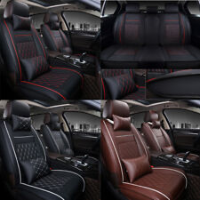 PU Leather Car Seat Cover Full Front Rear Cushion 5-Seats W/Pillow Waterproof