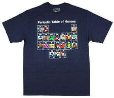 Marvel Men's Periodic Table Of Heroes T-Shirt Captain America Iron Man Thor Hulk