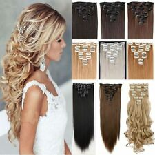 8 Piece 17-26Inch Clip In Hair Extensions Full Head Long Straight Curly Hair TD5