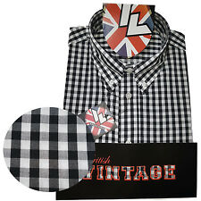 Warrior UK England Button Down Shirt KENNEDY Slim-Fit Skinhead Mod Retro