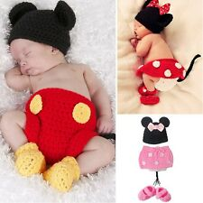 Newborn Baby Girls Knit Handmade Crochet Minnie Mouse Costume Outfits Hat  0-12M