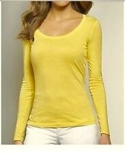 NWT Ann Taylor LOFT Long Sleeve Scoop Neck Cotton Tee Top  $25  Yellow  NEW