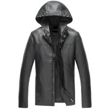 Stylish Mens casual hooded jacket PU leather zip up coat slim fit biker outwears
