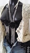 1940's Vintage Style Long Lagenlook Pearl Black Rose Statement Glam Necklace