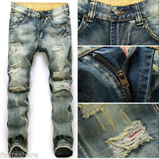 SALE Mens Stylish Designed Straight Slim Fit Jeans Trousers Casual Jean Pants
