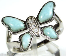 Rare AA/AAA Genuine Larimar Inlay 925 Sterling Silver Butterfly Ring Size 6789
