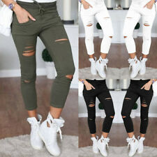 New Womens Ladies Pants Slim Fit Skinny Leggings Trousers Stretchy  Faded Ripped