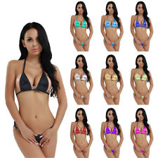 Women's Brazilian Mini Top Bra Bottom Micro Thong G-string Bikini Swimwear Suit