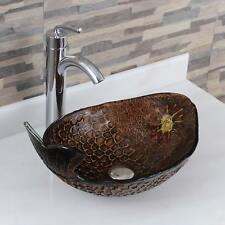 Elite Atlantic Whale+882002 Pattern Tempered Glass Bathroom Vessel Sink With