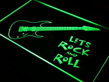 "16""x12"" i796-g Guitar Let's Rock n Roll Music Neon Sign"