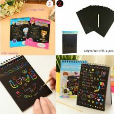 New 10 Sheets Magic Scratch Art Painting Paper With Drawing Stick Kids Toy