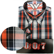 Warrior UK England Button Down Shirt DRAX Slim-Fit Skinhead Mod Retro SMALL