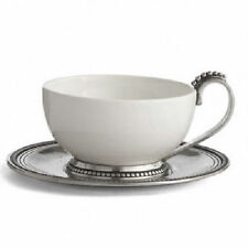 Arte Italica Perlina Italian Ceramic and Pewter Cup and Saucer Made in Italy