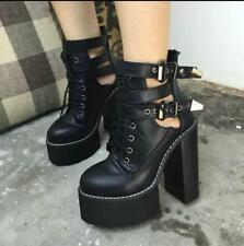 Womens Gothic Punk High Block Heels Platforms Lace Up Buckle Ankle Boots Shoes