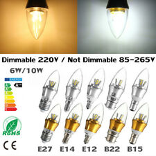 E27 E14 E12 B15 B22 Dimmable 6W 10W LED SMD Chandelier Candle Light Bulb Lamp