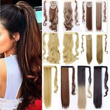 Claw On Real Natural Ponytail Clip In Hair Extensions Long Straight Wavy Hair FR