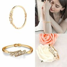 Elegant Women Lady Gold Plated Crystal Cuff Bangle Heart Flower Charm Bracelet
